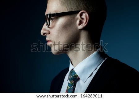 thinking young man profile portrait - stock photo