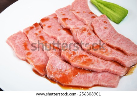 Thinly sliced beef on white plate - stock photo