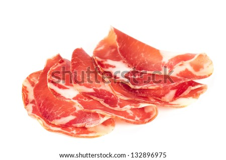 Thinly sliced ham isolated on white background.