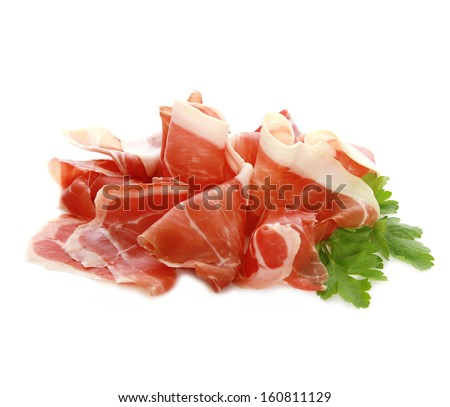Thinly sliced ham isolated on white background.  - stock photo