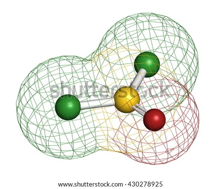 Thionyl chloride (SOCl2) chemical reagent molecule. 3D rendering. Atoms are represented as spheres with conventional color coding: sulfur (yellow), oxygen (red), chlorine (green). - stock photo