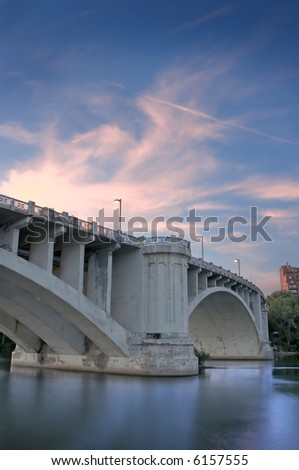 Third Avenue Bridge Clouds - Minneapolis, Minnesota - HDR image - stock photo