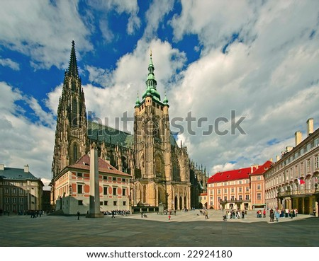third courtyard of Prague castle with a cathedral of st.Vitus - stock photo