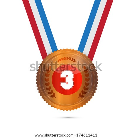 Third Place, Bronze Medal Isolated on White Background - Also Available in Vector Version - stock photo