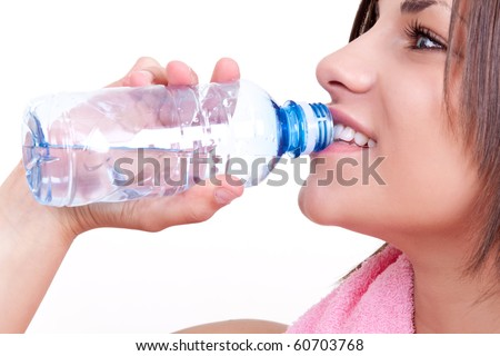 thirsty woman drinking water on white background - stock photo