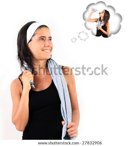 Thirsty young sportive woman imagining herself drinking. - stock photo