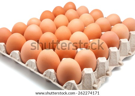thirty eggs in a box - stock photo
