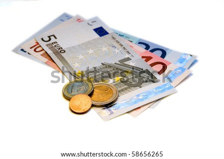 Thirty five Euros and change on a white background. - stock photo