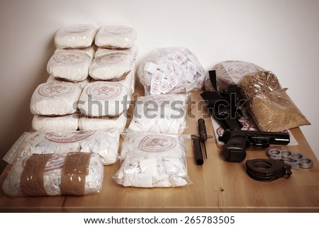Thirty kilos of drugs seized to dealers - stock photo