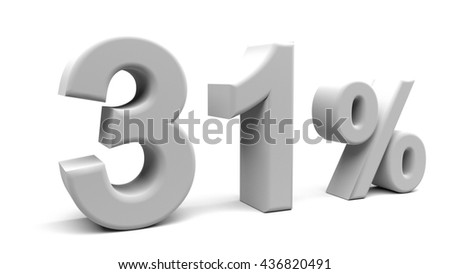 Thirty one percents 3D text, with big fonts isolated on white background. 3D rendering.