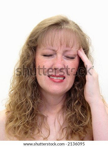 Thirty-something caucasian/white woman with a painful migraine headache. Isolated on white - stock photo