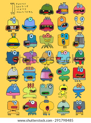 thirty three doodle icons MONSTERS funny silly simple drawing characters color D