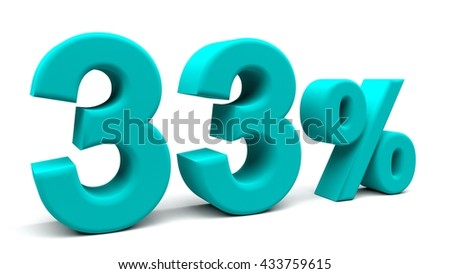 Thirty three percents 3D text, with big fonts isolated on white background. 3D rendering.
