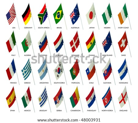 thirty two flags of the teams participants to the soccer World Cup in south Africa