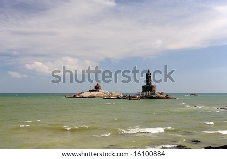 Thiruvalluvar statue at Kanyakumari, the most southern point of india where two oceans come together - stock photo