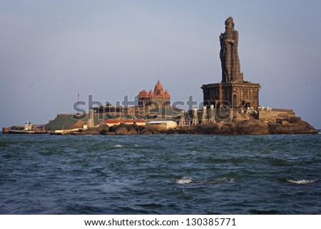 Thiruvalluvar statue, Kanyakumari, Tamilnadu, India. - stock photo