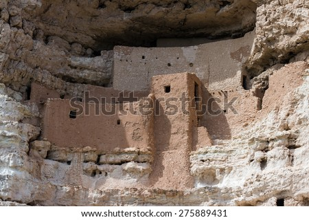 This ancient cliff dwelling in southern Arizona is one of the best preserved in North America - stock photo