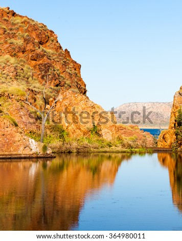 This beautiful lake is found in Western Australia. Part of River Ord. Lake Argyle - stock photo
