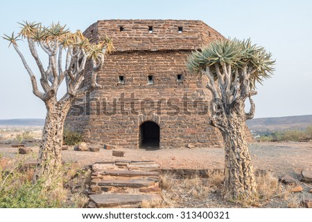 This  blockhouse on a hill guarded Prieska, a small town next to the Gariep River, during the Second Boer War. It was built from semi-precious tigers eye stones - stock photo