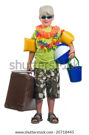 This boy is ready to go on summer vacation. - stock photo