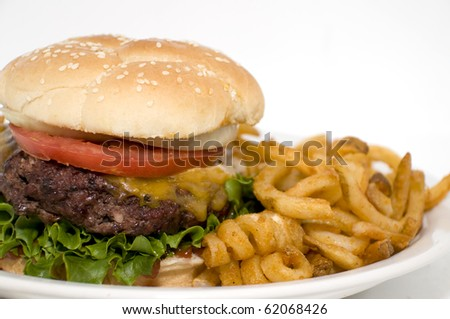 This burger has every thing, lettuce, tomato, cheese, onions, lots of catsup and of course curly fries.. yum - stock photo