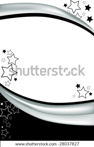 This clean black and white background can be converted to almost any use. A modern celebration background with stars and gradient stripes. - stock photo