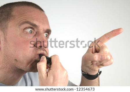 This coach has gone mad. His pupil doen't listen. - stock photo