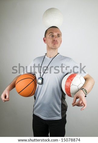 This coach is too busy, he is totally overworked and stressed out. - stock photo