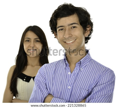This coplue wear a formal clothes they smile and look fresh, she is at the back and he is at the front - stock photo