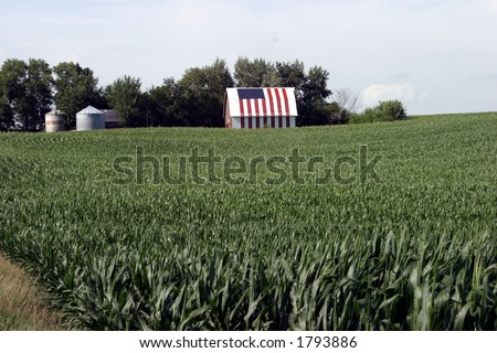 This corn farmer painted his entire barn with a flag motif. - stock photo