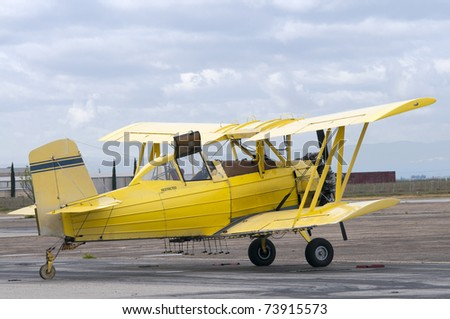 This crop duster in a workhorse in the agricultural fields - stock photo