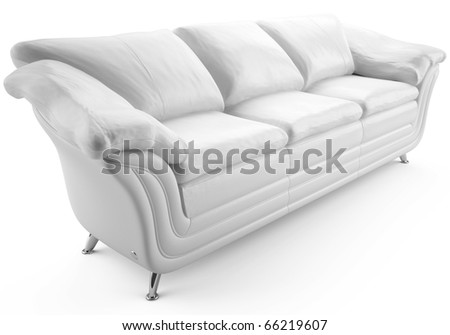 This 3D image  white leather sofa - stock photo
