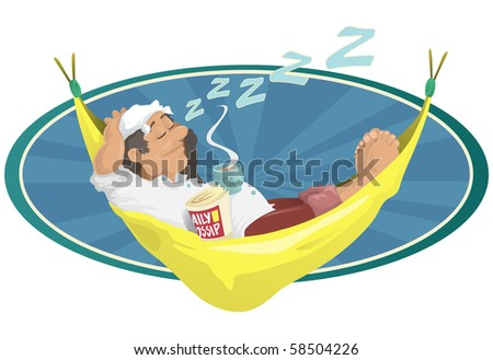 this fine gentleman is enjoying a well earned snooze in his very comfortable looking hammock. Layered separately for easy editing. - stock photo