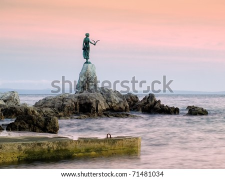 This historic statue on the Adriatic coast is a symbol of touristic town Opatija in Croatia. - stock photo
