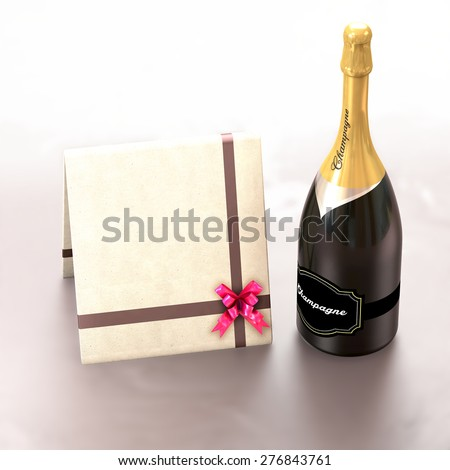 This illustration contains a champagne bottle and a greeting card with copy left to express wish. - stock photo