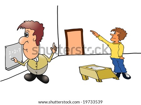 This illustration depicts a teacher and student in the classroom. - stock photo