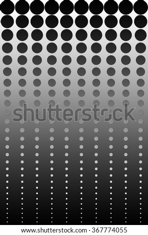 This illustration has a soft white to black gradient background with dots that reduce in size with black to white gradient. A shadow was added to enhance the dots & to give a 3d effect..