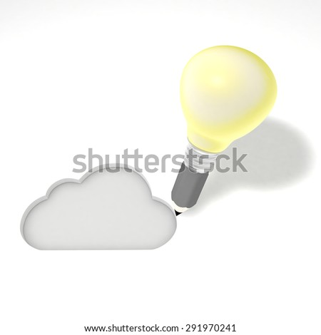 This illustration represents the conception of an internet cloud services. - stock photo