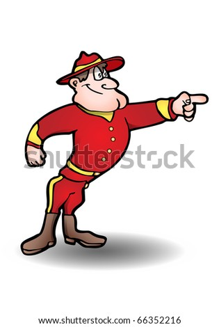This illustration that  depicts a ranger policeman point at something on isolated white background illustration - stock photo