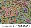 This image is comprised of resolute but relaxed curves with colors applied to make a contemporary abstract that is gentle, yet has a lot of energy. - stock vector