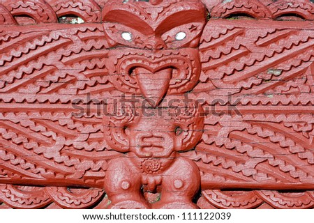 This image shows a Maori carving - Rotorua, New Zealand - stock photo