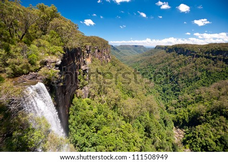 This image shows Fitzroy Falls, in New South Wales, Australia - stock photo
