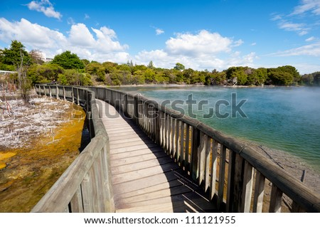 This image shows Kuirau Park, Rotorua, New Zealand - stock photo