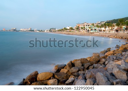 This image shows  the boardwalk in Puerto Vallarta, Jalisco, Mexico - stock photo