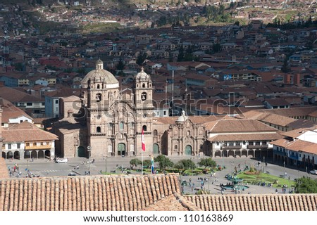 This image shows the central square in Cusco, Peru - stock photo