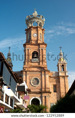 This image shows the Church of Our Lady of Guadalupe in Puerto Vallarta, Jalisco, Mexico - stock photo
