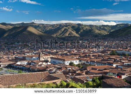 This image shows the city of Cusco, Peru - stock photo