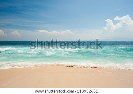 This image shows the idyllic beach at Balangan Beach, Bali - stock photo