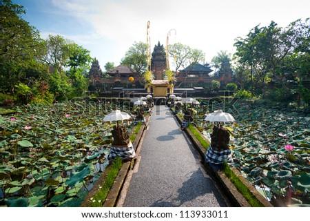 This image shows the Pura Saraswati temple in Ubud. Bali, Indonesia - stock photo