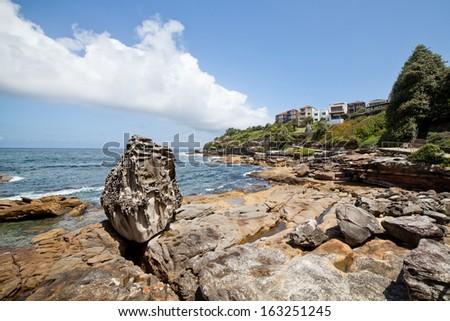 This image shows the scenery on the Bondi Beach to Bronte Walk, Sydney, Australia  - stock photo